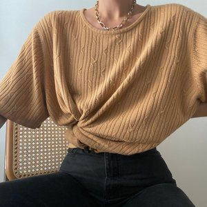 Vintage Cable Knit Oversized Tee